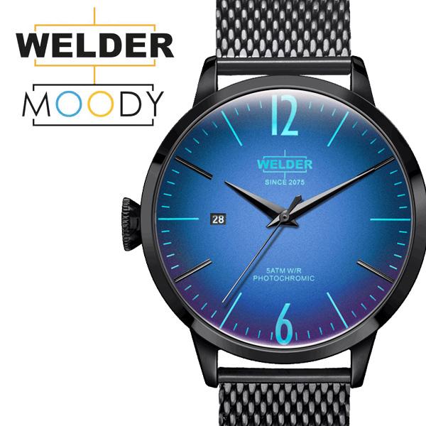WELDER MOODY/ウェルダー 腕時計 ムーディー WRC807 42mm 偏光ガラス メッシュベルト ブラック 三針 メンズ プレゼント ギフト 贈り物 【送料無料】【あす楽対応可】
