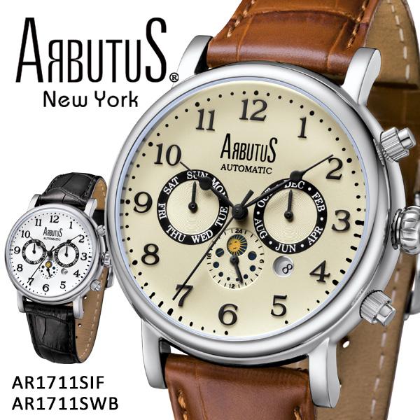 ARBUTUS アルブータス New York 腕時計 AR1711SIF AR1711SWB 機械式ムーブメント ニューヨーク メンズ レディース レザーベルト 本革 型押し ケース ブランド 贈り物 プレゼント ギフト 【2年保証】 【あす楽対応可】