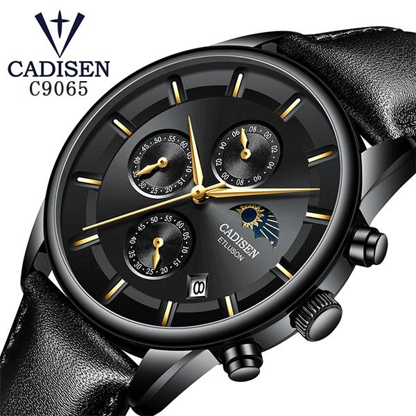 CADISEN メンズ腕時計 クロノグラフ レザーベルト C9066 サン&ムーン 太陽 月 ビジネス ブランド プレゼント 贈り物 【送料無料】【あす楽対応可】