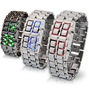 LEDが光るブレスレット型の近未来 メンズ腕時計 レディース腕時計 LED 腕時計 新発売 メンズ プレゼント アクセサリー ベルト調整工具付 デザインウォッチ バングル 感謝価格 ブレスウォッチ