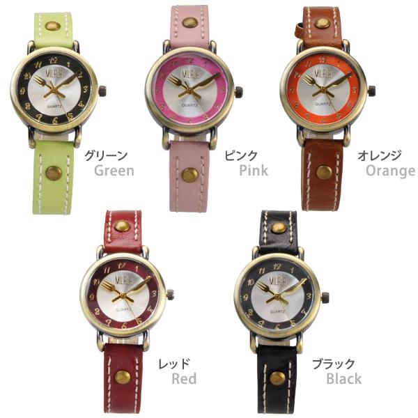 也和叉子&小刀针女士手表EA-151女性手表皮革皮带手表做杂货的shinshiapurezento