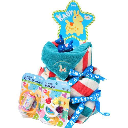 【送料込み(北海道、沖縄不可)】ロディ おむつケーキ<ブルー/10000>★ママにもベビーにもきっと喜ばれるハッピーなギフト。パンパーステープタイプとロディフェイスタオル、楽しいおもちゃの詰合せギフトセット★出産祝いに!