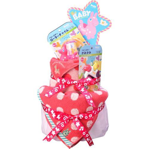 【送料込み(北海道、沖縄不可)】ロディ おむつケーキ<レッド/10000>★ママにもベビーにもきっと喜ばれるハッピーなギフト。パンパーステープタイプとロディフェイスタオル、楽しいおもちゃの詰合せギフトセット★出産祝いに!