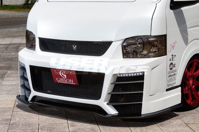 GIBSON ギブソン ハイエース 200系 ワイド フロントバンパースポイラー GT 塗装済/2色塗分け GRAFAM Gren グラファム グレン 配送先条件有り