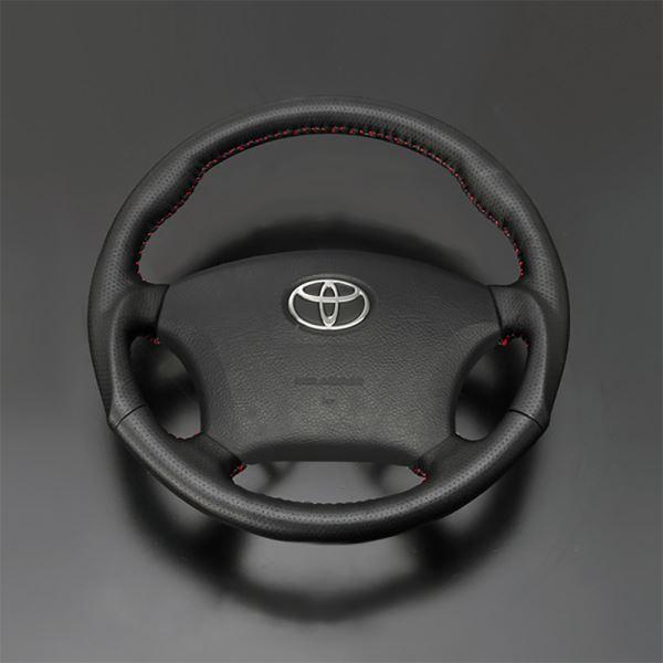 エスティマ 30系 40系 FEGGARI フェガーリ ダークグレーレザー×レッドステッチ ハイグレード ウッド&レザー ステアリング ガングリップ LS116LR