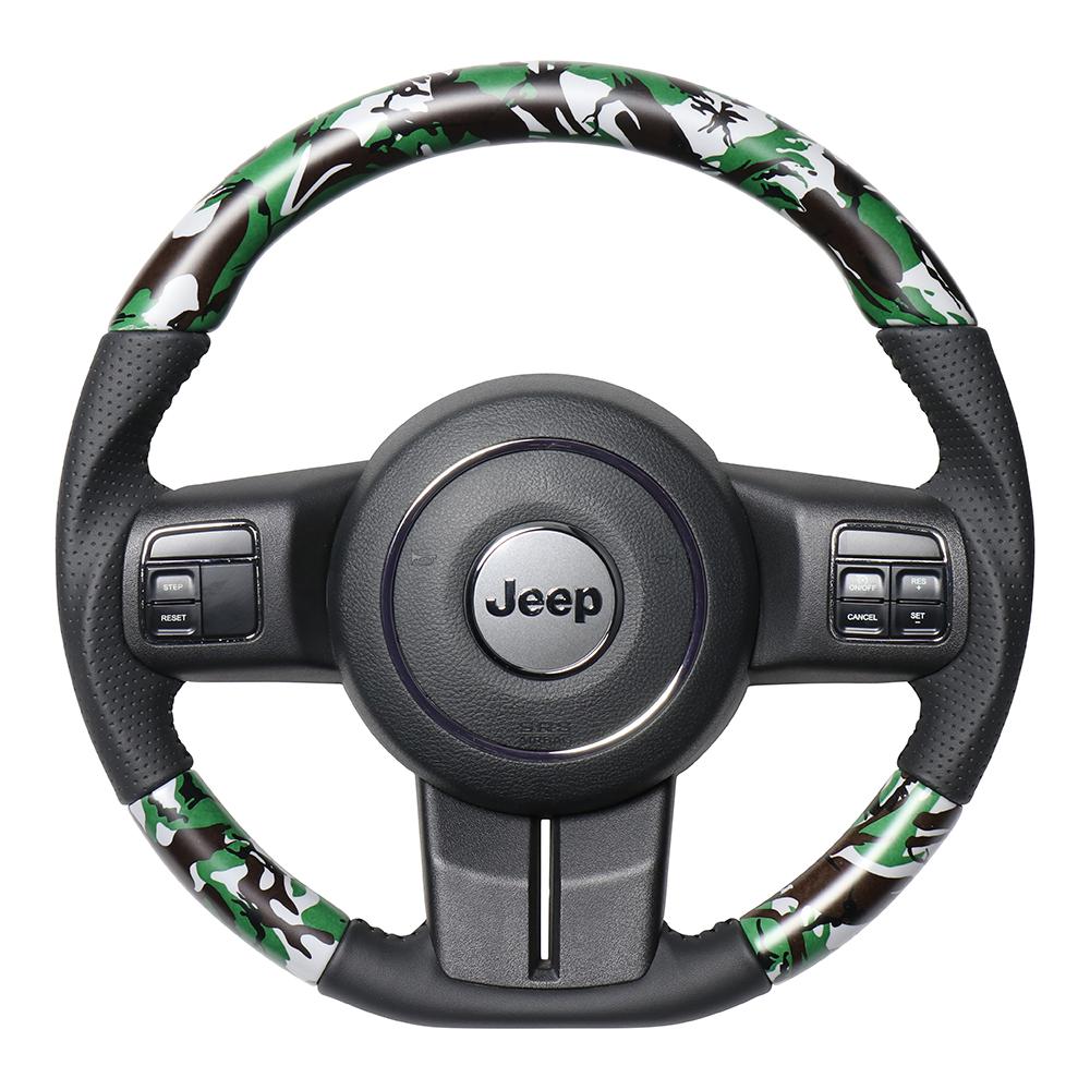 REAL レアル JEEP ラングラー JK36S ステアリング オリジナルシリーズ グリーン迷彩プリント(ブラックステッチ) JPA-MDT-BK