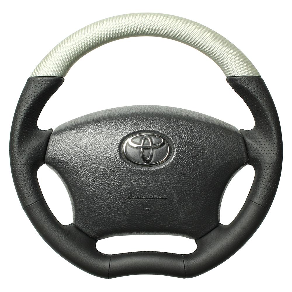 REAL レアル ランドクルーザープラド 120系 ステアリング オリジナルシリーズ マットシルバーカーボン (つやなし)(ブラックユーロステッチ) H200-SLC-BK