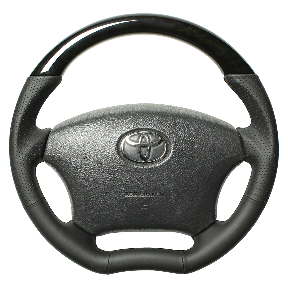 REAL レアル ランドクルーザープラド 120系 ステアリング オリジナルシリーズ ブラックウッド(ブラックユーロステッチ) H200-BKW-BK