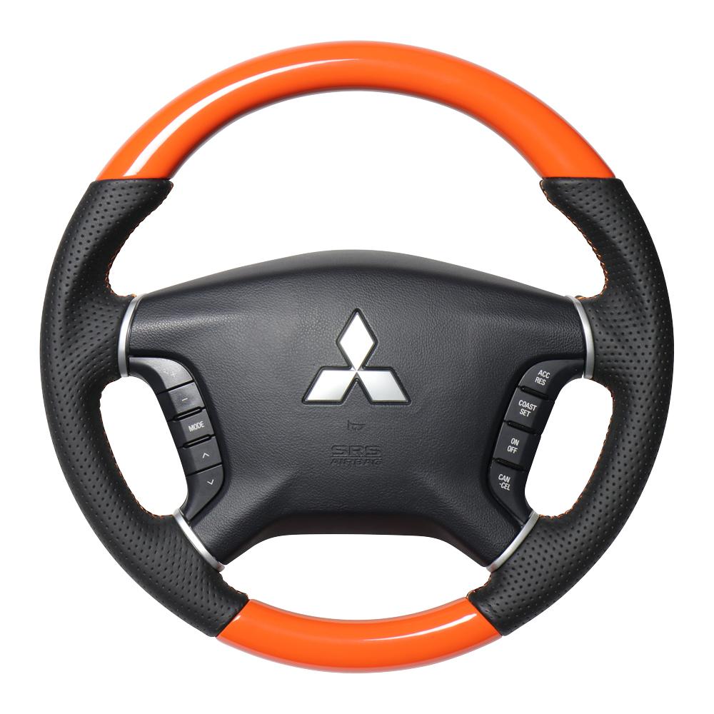 REAL レアル パジェロ V8#W V9#W ステアリング オリジナルシリーズ オレンジ(オレンジ×ブラック ユーロステッチ) D5-ORW-OR