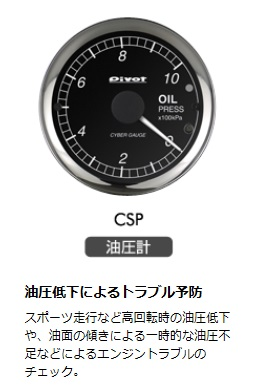 PIVOT ピボット 汎用 油圧計 品番:CSP サイバーゲージ