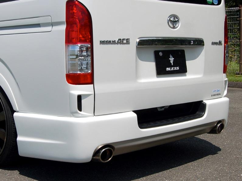 BLESS CREATION ハイエース 200系 1型 2型 3型 4型 標準 ナロー リアバンパースポイラー Ver.5 ステップ有 ダブルマフラー 塗装済 ブレス クリエイション