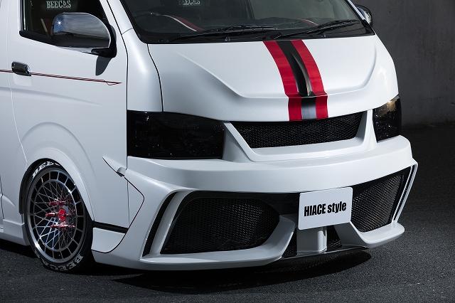BEECAS ハイエース 200系 4型 標準車 フロントバンパースポイラー グリル一体型 ビーキャス K-BREAK ケイブレイク