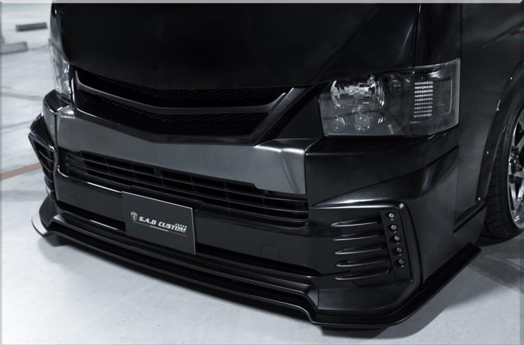 S A D カスタムジャパン ハイエース 200系 4型 ワイド フロントネオハーフスポイラー S.A.D CUSTOM JAPAN AGENT エージェント