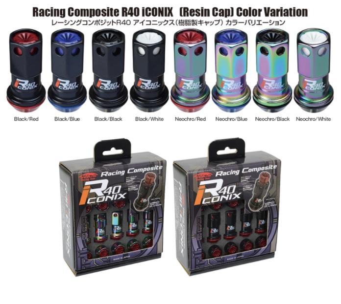 協永産業 レーシングコンポジットR40アイコニックス ロック ナットセット 20個 M12xP1.5 樹脂キャップ ブラック/レッド RIF-11KR KYO-EI Kics