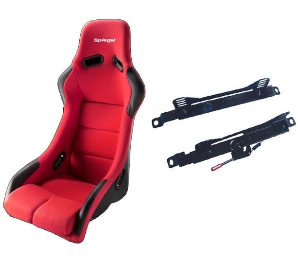 シュピーゲル フルバケットシート 刺繍入り シートレールセット アルト アルトワークス HA12S HA22S HA23S HA23V フルバケットシート レッド & フルバケットシート用シートレール 運転席 セパレートタイプ セット FSSU-R-ZS003 Spiegel