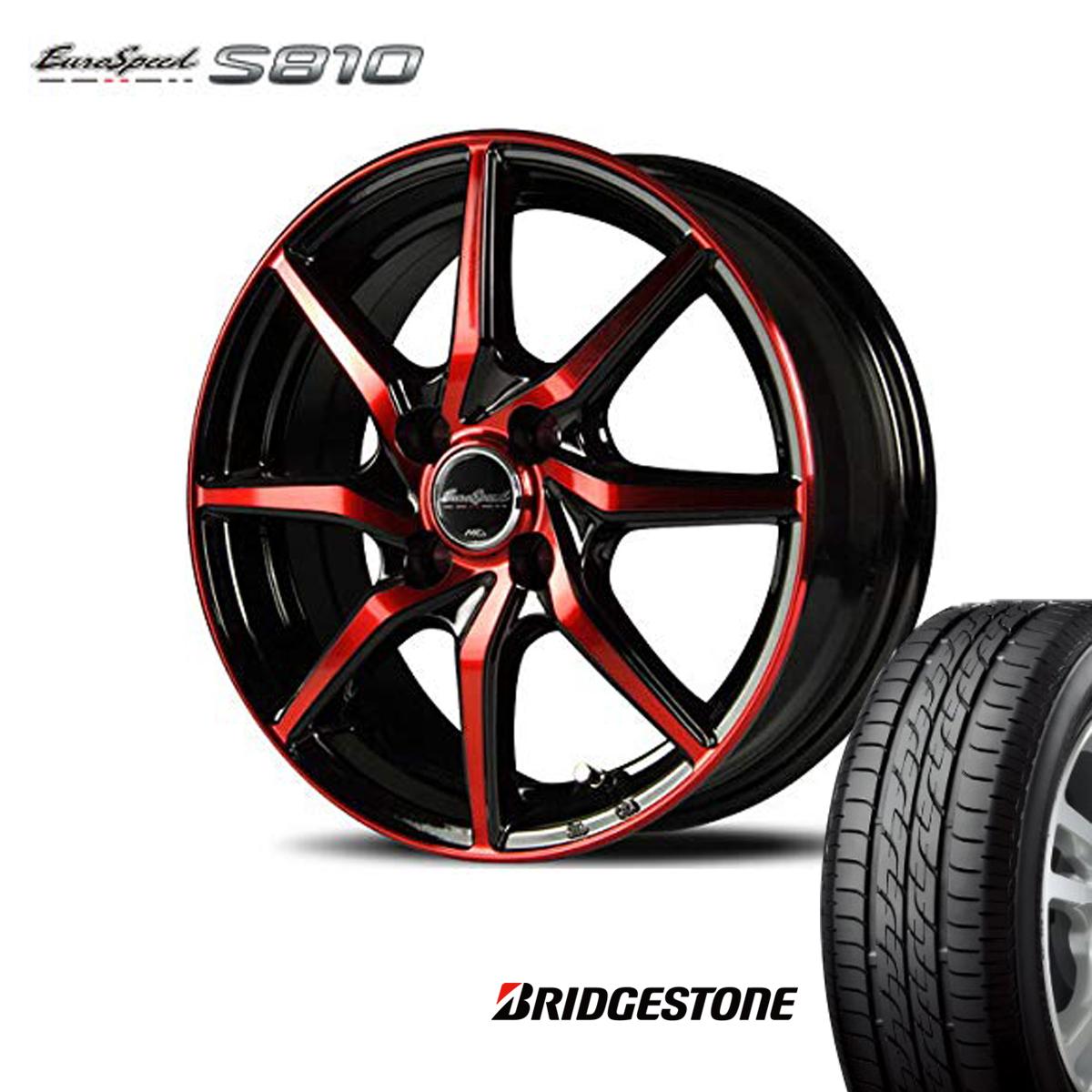 Euro Speed タイヤ ホイール セット 1本 15インチ 4H100 5.5J+45 ユーロスピード S810 マナレイ スポーツ ブリヂストン 185/55R15 185 55 15