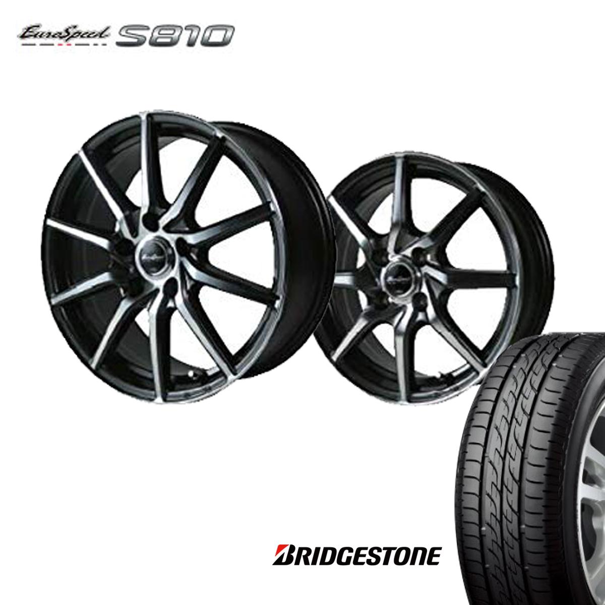 Euro Speed S810 タイヤ ホイール セット 4本 14インチ 4H100 4.5J+45 ユーロスピード S810 マナレイ スポーツ ブリヂストン 165/55R14 165 55 14