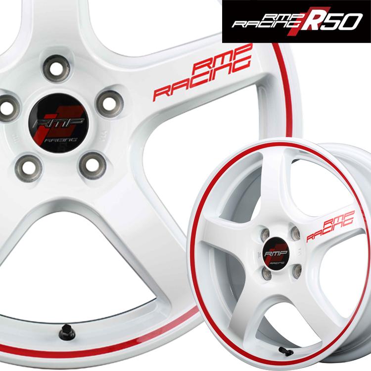 18インチ 5H114.3 8.5J+45 5穴 MID RMPレーシング R50 4本 1台分セット ホイール マルカ RMP RACING ホワイト リムレッドライン