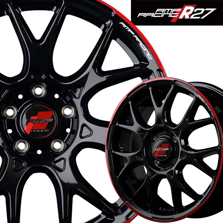 17インチ 4H100 7.0J 7J+45 4穴 MID RMPレーシング R27 4本 1台分セット ホイール マルカ RMP RACING ブラック リムレッドライン