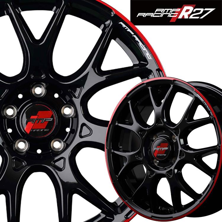 18インチ 5H100 8.0J 8J+45 5穴 MID RMPレーシング R27 4本 1台分セット ホイール マルカ RMP RACING ブラック リムレッドライン