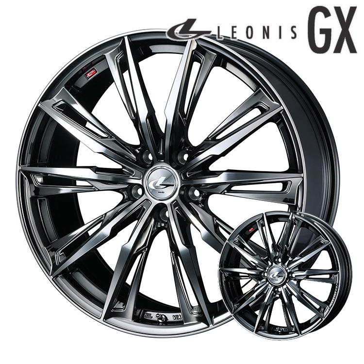20インチ 5H114.3 8.5J+45 5穴 ウェッズ レオニスGX ホイール 4本 1台分セット weds LEONIS GX ブラックメタルコート/ミラーカット 個人宅発送追金有