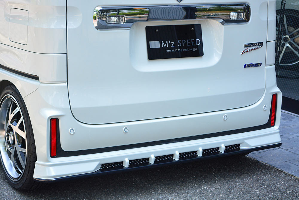 エムズスピード スペーシア カスタム MK53S リアアンダースポイラー 塗り分け塗装済み 3142-3112-222 グレースライン ゼウス