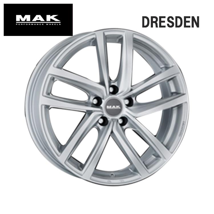 18インチ 5H112 7.5J+51 5穴 DRESDEN ホイ-ル 4本 1台分セット シルバー MAK ドレスデン