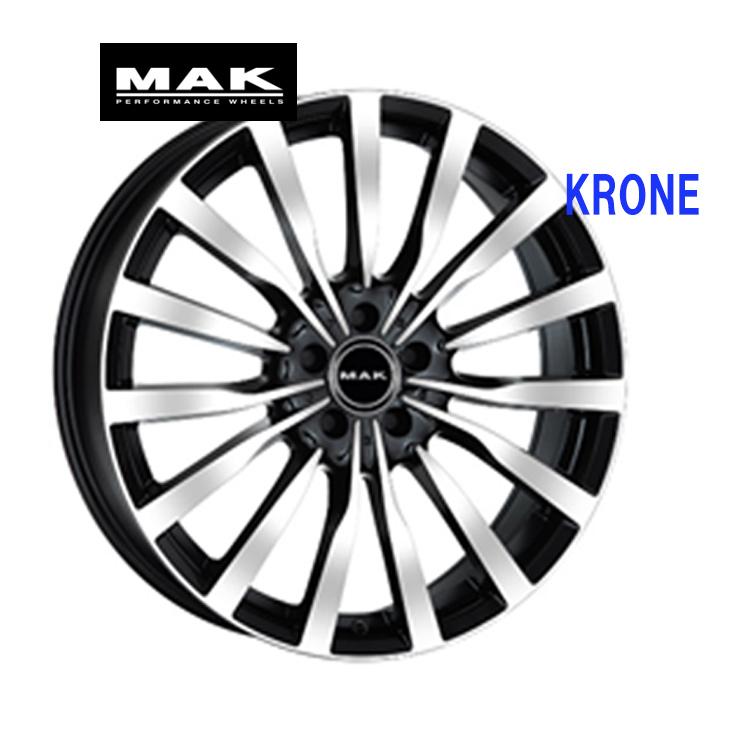 19インチ 5H112 8.5J+34 5穴 KRONE ホイ-ル 4本 1台分セット ブラックミラー MAK クローネ