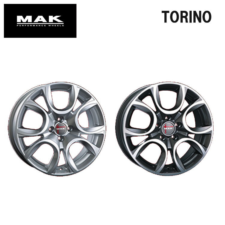 17インチ 4H98 7.0J 7J+39 4穴 TORINO ホイ-ル 1本 ガンメタリックミラー MAK トリノ