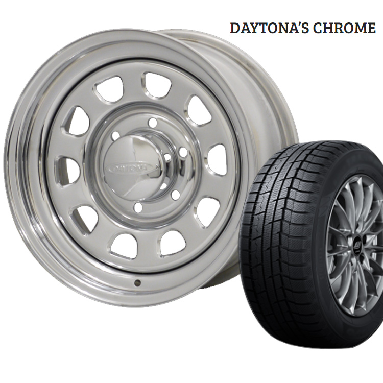 ウィンターマックス02 195/60R16 195 60 16 ダンロップ スタッドレスタイヤ ホイールセット 1本 16インチ 6H139.7 6.5J+45 デイトナ クローム モリタ DAYTONA'S CHROME