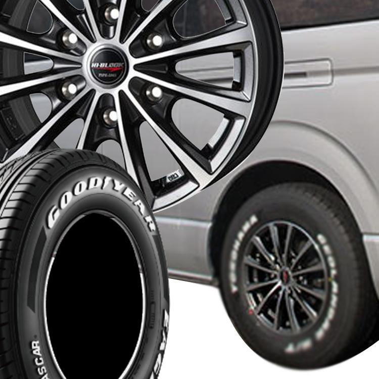 ハイエース200用 15インチ グッドイヤー イーグル ナスカー 4本 195/80R15 195 80 15 タイヤ ホイール セット HI-BLOCK TYPE-DMX 6H139.7 6.0J 6J+33 MONZA JAPAN