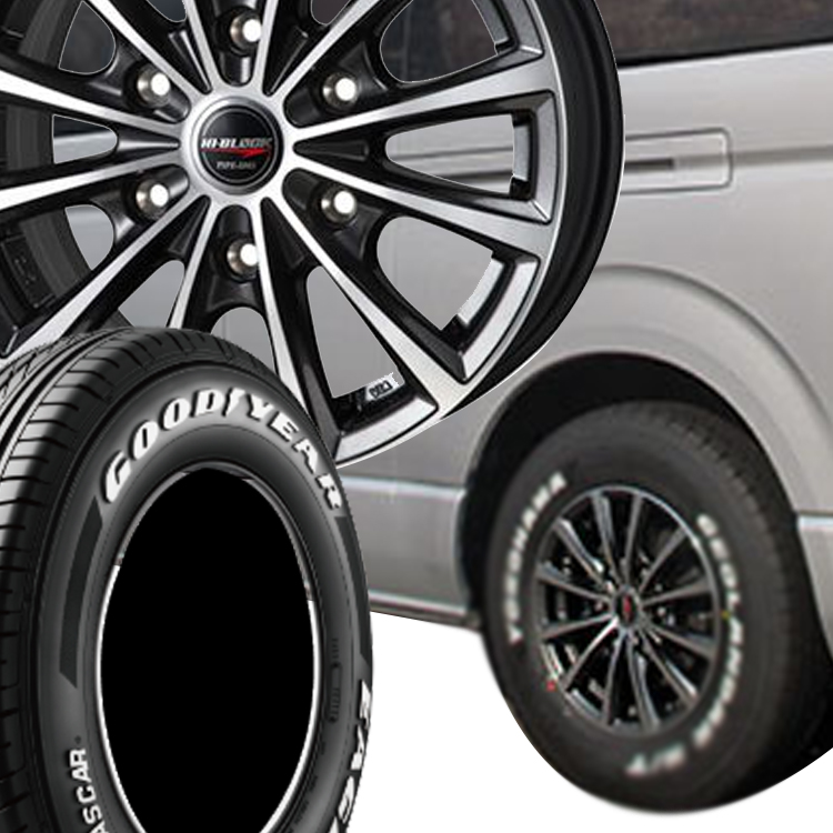 ハイエース200用 15インチ グッドイヤー イーグル ナスカー 4本 195/80R15 195 80 15 タイヤ ホイール セット HI-BLOCK TYPE-DMX 6H139.7 6.0J 6J+44 MONZA JAPAN