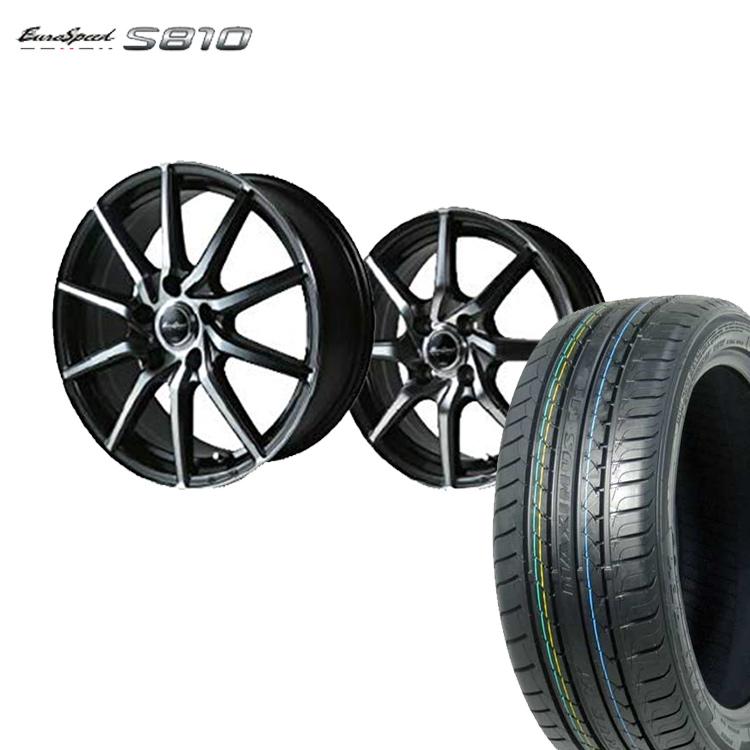 205/55R16 205 55 16 特選輸入タイヤ サマー タイヤホイールセット 4本 ユーロスピード S810 16インチ 5H100 6.5J+50 ダークガンメタリックポリッシュ