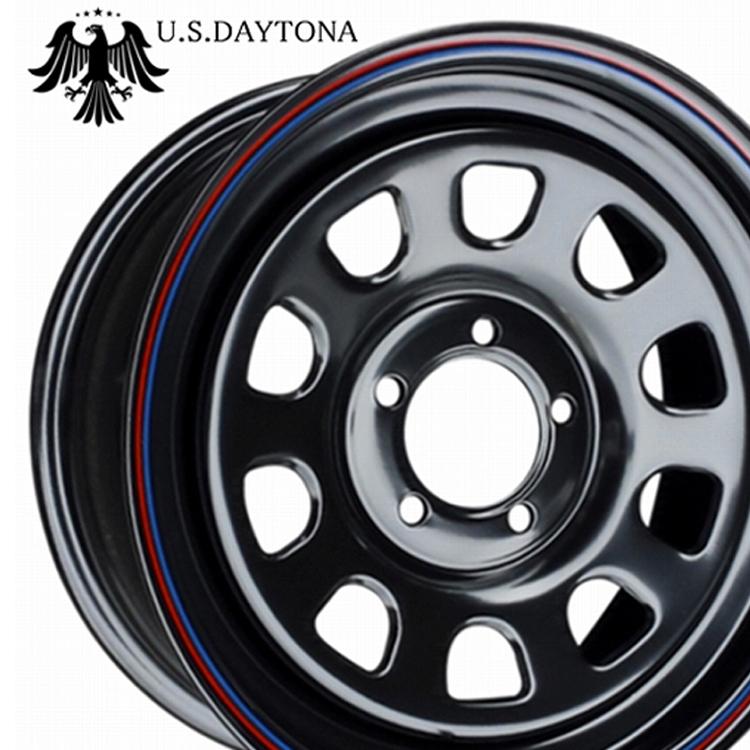 15インチ 4H100 7.0J 7J+10 4穴 レッドライン USデイトナ スチールホイール 4本 1台分セット RED LINE U.S.DAYTONA ブラック(レッド/ブルー)