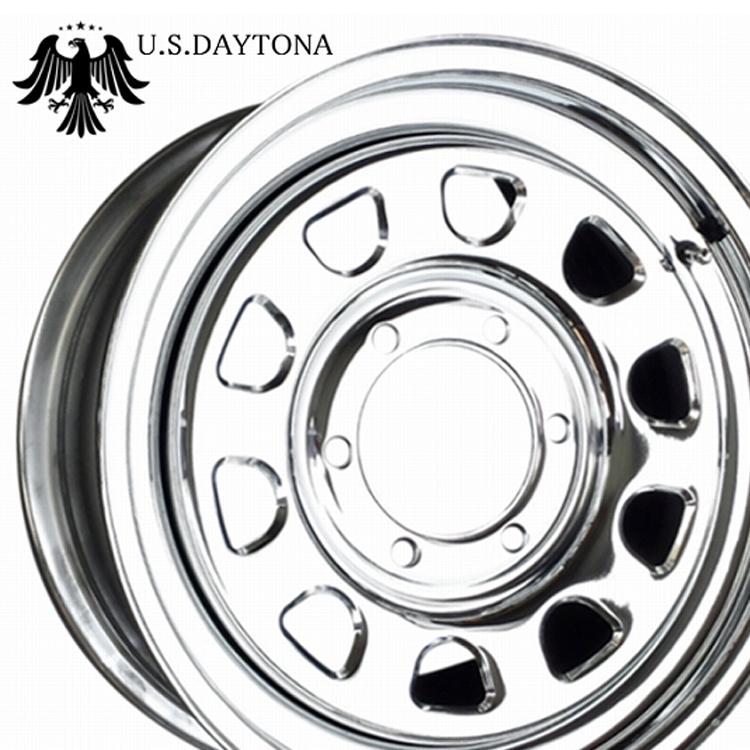 16インチ 5H114.3 7.0J 7J+20 5穴 レッドライン USデイトナ スチールホイール 4本 1台分セット RED LINE U.S.DAYTONA クロームメッキ