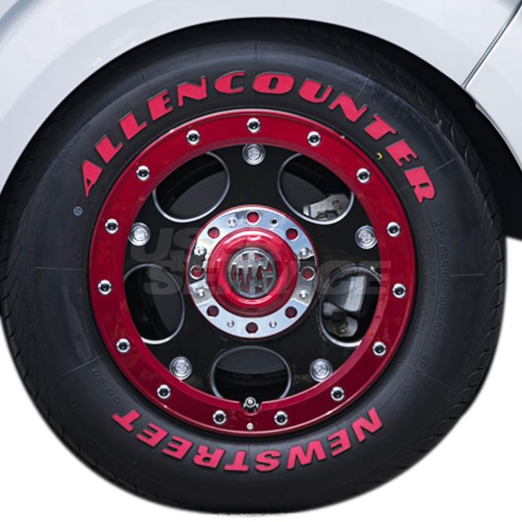 ハイエース用 16インチ オーレンカウンター レッドレター 4本 215/65R16 215 65 16 タイヤ ホイール セット MGデーモン 6H139.7 7.0J 7J+38 クリムソン