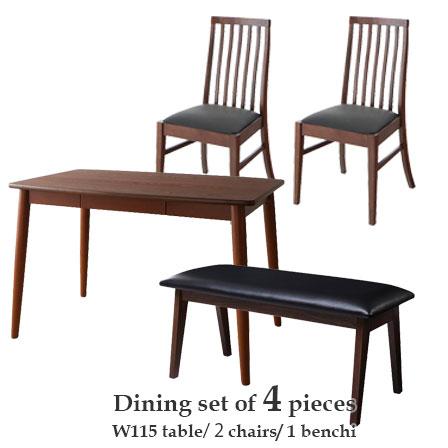 天然木 ダイニングテーブル チェア2脚 ベンチ1脚 4点セット 幅115cm ダイニング テーブル 椅子 長椅子 セット 食卓 食卓テーブル 4人 ダイニングセット おしゃれ 北欧 モダン 家具 背もたれ ダイニングチェア ダイニングベンチ タモ材