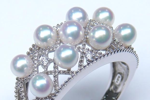 《真珠大卸からの直販》■アコヤ真珠ベビーをふんだんに使用した優雅な1点物■K18WG アコヤ真珠3.5mmUPベビーリング[ホワイト系グリーンピンク]3.5mmUP【送料無料】, ジュエリー YouMe:0cf688a4 --- officewill.xsrv.jp
