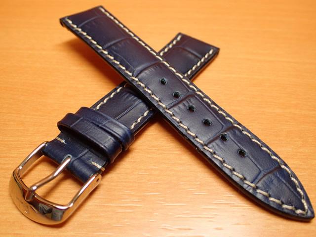 【SINN】ジン 腕時計 Sinn 純正バンド ベルト 牛革 カウレザー ストラップ (型押し)SSマット・バックル & SSポリッシュ・バックル (20mm & 22mm) 腕時計用 時計ベルト 時計用バンド ブルー (青色に白ステッチ)