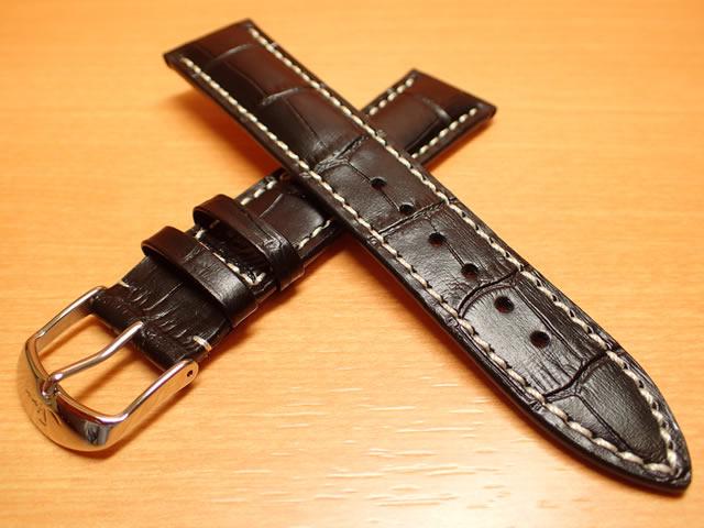 【SINN】ジン 腕時計 Sinn 純正バンド ベルト 牛革 カウレザー ストラップ (型押し)SSマット・バックル & SSポリッシュ・バックル (20mm & 22mm) 腕時計用 時計ベルト 時計用バンド ブラック (黒色に白ステッチ)