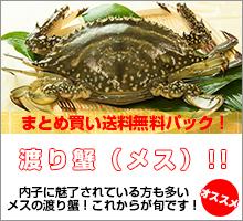 ワタリガニメス超新鮮!獲れたての活き締めメスワタリガニ 約2kg(200g~400gサイズが5~10尾入り)まとめ買い【送料無料】