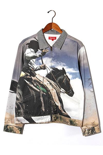 【中古】2017SS SUPREME シュプリーム Cowboy Denim Work Jacket 転写 カウボーイ デニム ワークジャケット M Multi/● メンズ 【ベクトル 古着】 200111 ベクトル 新都リユース