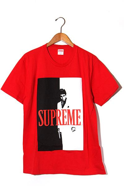 【中古】未使用品 2017AW SUPREME シュプリーム Scarface Split Tee スカーフェイス Tシャツ M Red 赤/● メンズ 【ベクトル 古着】 200121 ベクトル 新都リユース