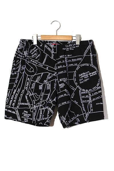 【中古】2019SS SUPREME シュプリーム Gonz Embroidered Map Sweatshort ゴンズ マップ 刺繍 スウェット ショーツ ショートパンツ M Black/● メンズ 【ベクトル 古着】 200425 ベクトル 新都リユース