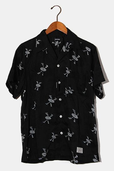 【中古】未使用品 2020SS WACKO MARIA × MINEDENIM ワコマリア マインデニム Hawaiian Shirt レコード柄 アロハシャツ 1 BLACK 黒/● メンズ 【ベクトル 古着】 200814 ベクトル 新都リユース