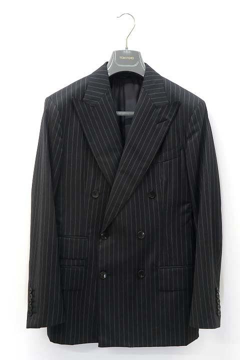 【中古】トムフォード TOM FORD ストライプ ジャケット×パンツ ダブル スーツ セットアップ 46R 【ベクトル 古着】 200723 ベクトル 新都リユース