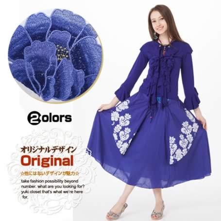 オリジナルデザイン 刺繍2wayスカート 2カラー 変形 フレア ふんわり リゾート気分なロングスカート
