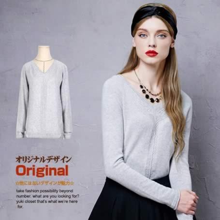 オリジナルデザイン 秋冬新作 大人可愛い カシミヤ100% Vネック カシミヤセーター 肌触りいい 暖かい グレー ピンク