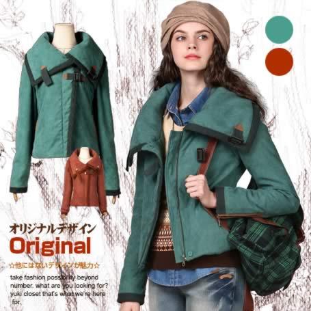 新色追加 エスニックファッション オリジナルデザイン 新作 大きい襟付き中綿ジャケット ショートコート 暖かい セーム革風 着痩せ