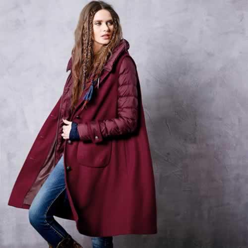 オリジナルデザイン 春新作 大人可愛い 上質ダウン90% 二点セット ロングベスト ダウンコート ロング丈 ワインレッド 暖かい